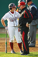 6 March 2008: Stanford Cardinal Rosey Neill (left) and head coach John Rittman (right) during Stanford's 2-1 win against the Campbell Fighting Camels at the Boyd & Jill Smith Family Stadium in Stanford, CA.