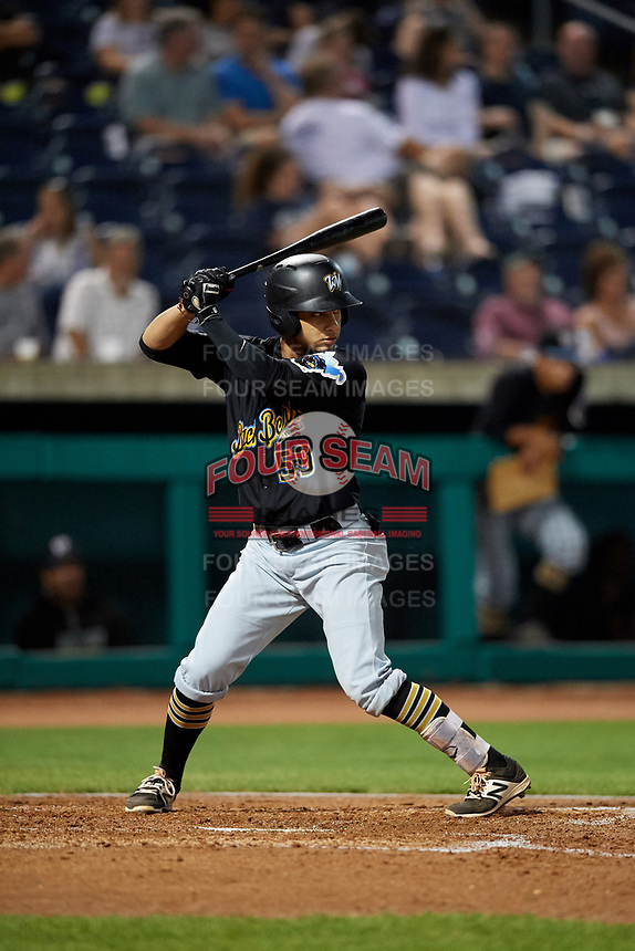 West Virginia Black Bears designated hitter Fabricio Macias (59) at bat during a game against the State College Spikes on August 30, 2018 at Medlar Field at Lubrano Park in State College, Pennsylvania.  West Virginia defeated State College 5-3.  (Mike Janes/Four Seam Images)