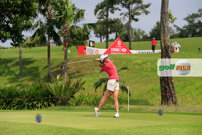 An Amateur playing with Mirim Lee (KOR) on the 16th tee during the Pro-Am of the HSBC Women's Champions at the Sentosa Golf Club, The Serapng Course in Singapore on Wednesday 4th March 2015.<br /> Picture:  Thos Caffrey / www.golffile.ie