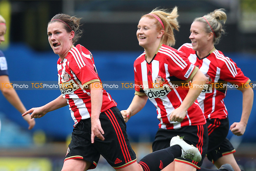 Kelly McDougall of Sunderland AFC Ladies (L) celebrates scoring the first goal for her team - Millwall Lionesses vs Sunderland AFC Ladies - FA Womens Super League Football at Milwall FC, the New Den, London - 26/10/14 - MANDATORY CREDIT: Gavin Ellis/TGSPHOTO - Self billing applies where appropriate - contact@tgsphoto.co.uk - NO UNPAID USE