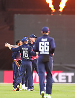 Englands Ben Stokes & Eoin Morgan celebrate the wicket of Blackcaps Colin Munro during the third ODI cricket match between the Blackcaps & England at Westpac stadium, Wellington. 3rd March 2018. © Copyright Photo: Grant Down / www.photosport.nz