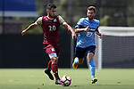 28 August 2016: Elon's Nick Adamczyk (20) and San Diego's Jared Hegardt (27). The Elon University Phoenix played the University of San Diego Toreros at Koskinen Stadium in Durham, North Carolina in a 2016 NCAA Division I Men's Soccer match. USD won the game 2-1.