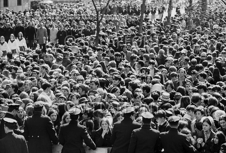 Manhattan, New York City, NY, March 17th, 1970. 'Kiss me: I am Irish'. The crowd at St. Patrick's Day Parade on 5th. Ave.