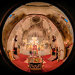 Interior 180 degree fisheye view of the Church of the Ascension of Jesus Christ at the Monastery Mileševa, Serbia originally built in the 13th century.