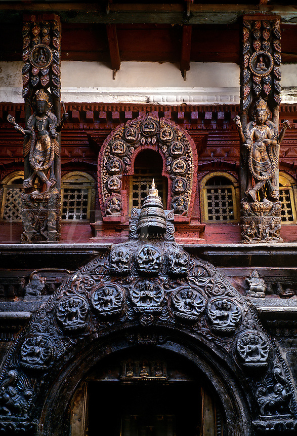 NEWARI religious art from the 12th century inside the KWA BAHAL or GOLDEN TEMPLE in PATTAN - NEPAL