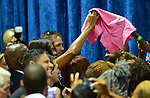 MIAMI, FL - OCTOBER 17: U.S. First Lady Michelle Obama greeting voter as she campaigns for former Florida Governor and now Democratic gubernatorial candidate Charlie Crist during an event at the Betty T. Ferguson Recreational Complex Gymnasium on Friday October 17, 2014 in Miami, Florida. Crist is facing off against incumbent Republican Governor Rick Scott in the November 4, 2014 election. (Photo by Johnny Louis/jlnphotography.com)