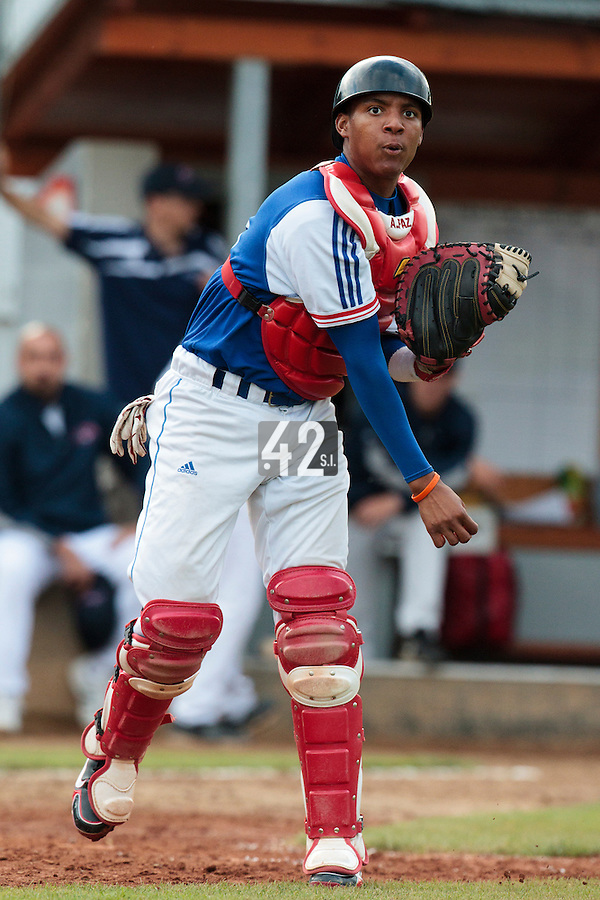 17 August 2010: Andy Paz Garriga of Team France warms up during the Czech Republic 4-3 win over France, at the 2010 European Championship, under 21, in Brno, Czech Republic.