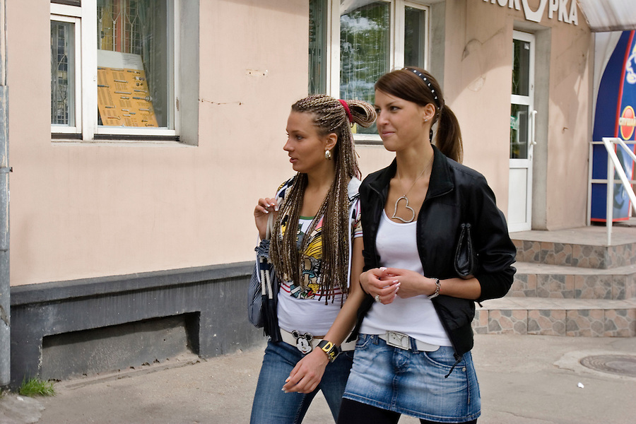 Kaliningrad, Russia, 06/05/2007..Young women walking in Kaliningrad city centre.