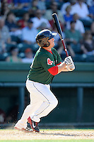 First baseman Tim Roberson (15) of the Greenville Drive in a game against the Savannah Sand Gnats on Sunday, June 22, 2014, at Fluor Field at the West End in Greenville, South Carolina. Greenville won, 7-3. (Tom Priddy/Four Seam Images)
