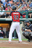 Shortstop Andrelton Simmons (19) of the Atlanta Braves bats in a Spring Training game against the New York Yankees on Wednesday, March 18, 2015, at Champion Stadium at the ESPN Wide World of Sports Complex in Lake Buena Vista, Florida. The Yankees won, 12-5. (Tom Priddy/Four Seam Images)