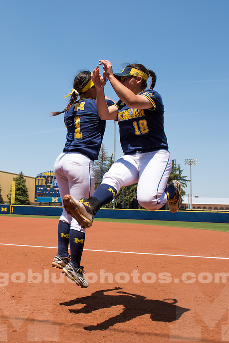 The University of Michigan softball team defeats Notre Dame, 6-2, during the NCAA Regional final at Wilpon Complex in Ann Arbor, MI on May 22, 2016.