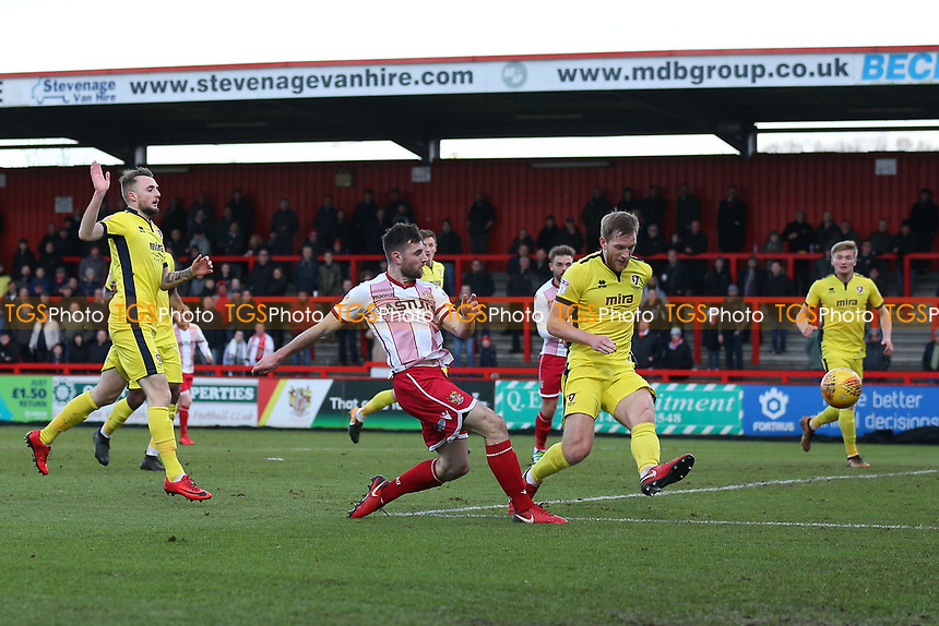 Danny Newton of Stevenage with a shot on goal during Stevenage vs Cheltenham Town, Sky Bet EFL League 2 Football at the Lamex Stadium on 1st January 2018