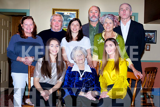 Hannah O'Shea, York Terrace, Killarney celebrated her 102nd birthday with her family and friends at her home on Saturday front row l-r: Roisin, Hannah and Hannah O'Shea. Back row: Margaret, Eugene, Eileen and Jay O'Shea, Maureen Ní Iann and Michael O'Shea