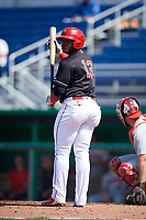 Batavia Muckdogs right fielder Albert Guaimaro (13) at bat during a game against the Auburn Doubledays on September 3, 2018 at Dwyer Stadium in Batavia, New York.  Auburn defeated Batavia 8-5.  (Mike Janes/Four Seam Images)