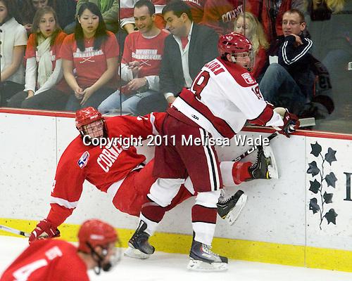Kirill Gotovets (Cornell - 24), Alex Killorn (Harvard - 19) - The visiting Cornell University Big Red defeated the Harvard University Crimson 2-1 on Saturday, January 29, 2011, at Bright Hockey Center in Cambridge, Massachusetts.