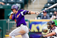 Eric Stamets (8) of the Evansville Purple Aces follows through his swing during a game against the Missouri State Bears at Hammons Field on May 12, 2012 in Springfield, Missouri. (David Welker/Four Seam Images)