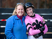 Leslie Young and Keri Brion pal it up before the 6th race finale.