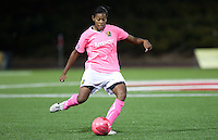 Candace Chapman kicks the ball. FC Gold Pride tied the Chicago Red Stars 0-0 in PUMA's Project Pink, Think Pink, Breast Cancer Awareness game at Pioneer Stadium in Hayward, California on August 7th, 2010.