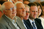 Seattle, William Gates Sr. (left) with University of Washington Bioengineering faculty, dignitaries at the groundbreaking for the Foege Genome Sciences, Bioengineering building, University of Washington,  Washington State, Pacific Northwest,.