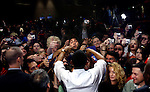 U.S. Presidential hopeful Barack Obama (D-IL) greets a crowd of about 4,000 people at an event in Madison, Wisconsin, on Oct. 15, 2007.