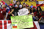 15 July 2007: Chile fans show their colors and send greetings to their families, pregame. Chile's Under-20 Men's National Team defeated Nigeria's Under-20 Men's National Team 4-0 after extra time in a  quarterfinal match at Olympic Stadium in Montreal, Quebec, Canada during the FIFA U-20 World Cup Canada 2007 tournament.