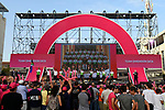 Team Dimension Data on stage at the Team Presentation before the 101st edition of the Giro d'Italia 2018. Jerusalem, Israel. 3rd May 2018.<br /> Picture: LaPresse/Fabio Ferrari | Cyclefile<br /> <br /> <br /> All photos usage must carry mandatory copyright credit (&copy; Cyclefile | LaPresse/Fabio Ferrari)