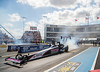 Oct 15, 2016; Ennis, TX, USA; NHRA top fuel driver Steve Torrence during qualifying for the Fall Nationals at Texas Motorplex. Mandatory Credit: Mark J. Rebilas-USA TODAY Sports