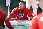 10/17/08 1:26:27 PM -- Philadelphia, PA, U.S.A. -- Philadelphia Phillies Shane Victorino warms up before practice October 17, 2008 at Citizen's Bank Park in Philadelphia, Pennsylvania. Victorino showed the team that cast him aside that it made a costly error. The Philadelphia outfielder, who spent six years in the L.A. Dodgers' farm system, used key hits in pressure situations, including a triple, Game 4 eighth-inning homer and six RBI during the NLCS, to help the Phillies beat the Dodgers and reach their first World Series since 1993. -- ...Photo by William Thomas Cain, Freelance.