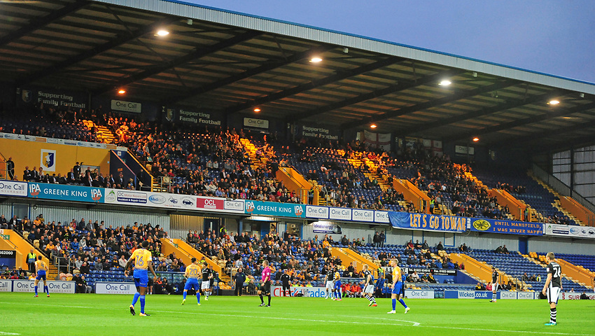 The main stand at Field Mill showing a low turn out of fans<br /> <br /> Photographer Andrew Vaughan/CameraSport<br /> <br /> The EFL Checkatrade Trophy - Mansfield Town v Lincoln City - Tuesday 29th August 2017 - Field Mill - Mansfield<br />  <br /> World Copyright &copy; 2018 CameraSport. All rights reserved. 43 Linden Ave. Countesthorpe. Leicester. England. LE8 5PG - Tel: +44 (0) 116 277 4147 - admin@camerasport.com - www.camerasport.com