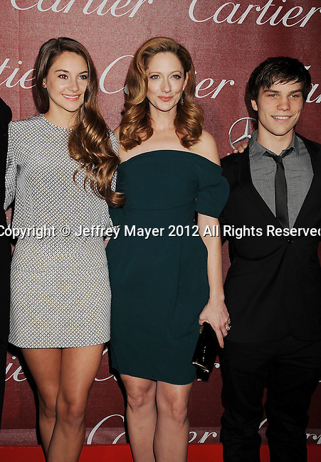 PALM SPRINGS, CA - JANUARY 07: Shailene Woodley, Judy Greer and Nick Krause arrive at the 2012 Palm Springs Film Festival Awards Gala at the Palm Springs Convention Center on January 7, 2012 in Palm Springs, California.