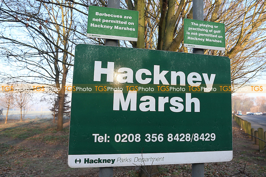 General view of the Hackney Marsh sign. Freezing temperatures and a hard overnight frost bring about the postponement of dozens of Hackney & Leyton Sunday League Football matches at Hackney Marshes on 22nd January 2017