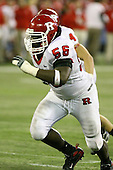 January 5th, 2008:  Rutgers defender Eric Foster gets off the line during the fourth quarter of the International Bowl at the Rogers Centre in Toronto, Ontario Canada...Rutgers defeated Ball State 52-30.  ..Photo By:  Mike Janes Photography