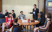 Caroline Marso '14. Occidental and Scripps College students participate on the final day of The Fullbridge Program's Internship Edge on Jan. 17, 2014 in Dumke Commons of Swan Hall. Students presented their team projects and talked with professionals. The program was hosted by Occidental College in conjunction with Scripps College. 20 students were engaged in the intensive, professionalized, skill-building program which focused on careers in finance, business and entrepreneurship. (Photo by Marc Campos, Occidental College Photographer)