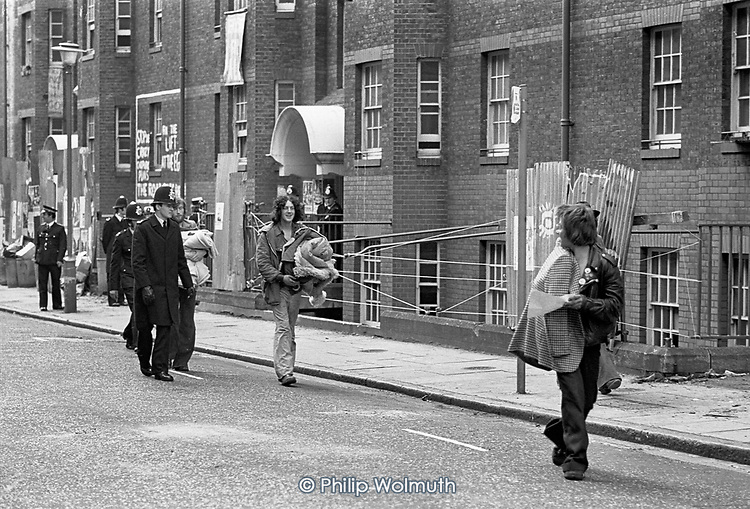 Eviction of squatters from mansion block flats in Huntley Street, Holborn, London 1978.
