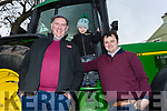 John Kerins from Blennerville with Shane And Conor Ashe at the James Ashe Memorial Tractor run in Boolteens on Sunday.