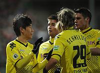 FUSSBALL   DFB POKAL   SAISON 2011/2012   VIERTELFINALE Holstein Kiel - Borussia Dortmund                          07.02.2012 Torjubel: Shinji Kagawa, Moritz Leitner, Marcel Schmelzer und Sebastian Kehl (v.l., alle Dortmund)