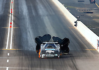 Feb 21, 2015; Chandler, AZ, USA; NHRA funny car driver Shane Westerfield on fire after an engine explosion during qualifying for the Carquest Nationals at Wild Horse Pass Motorsports Park. Mandatory Credit: Mark J. Rebilas-