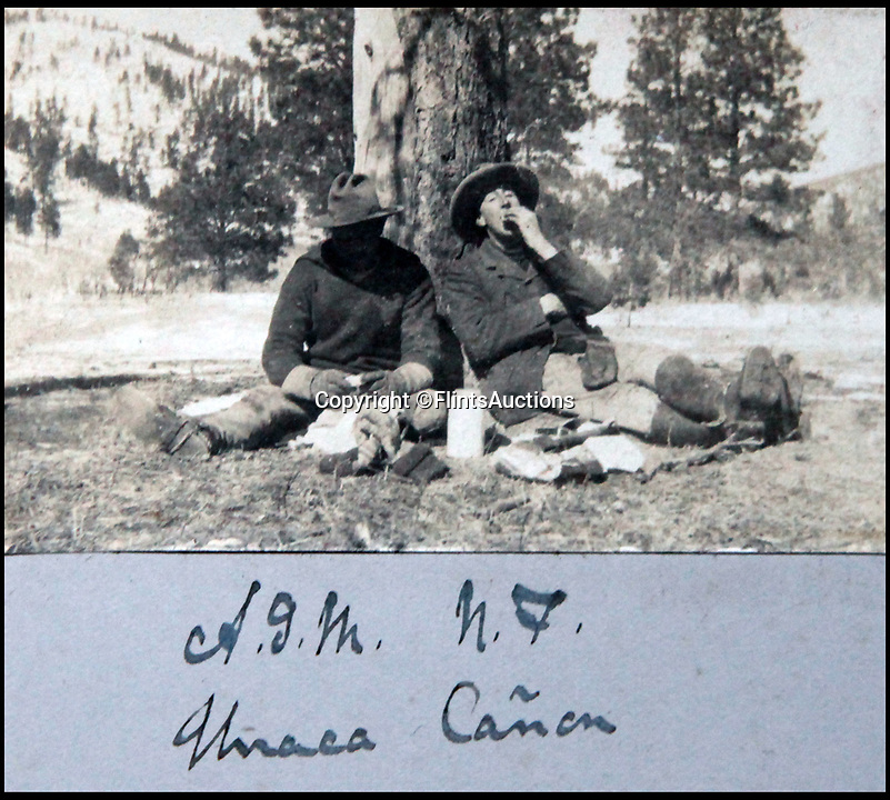 BNPS.co.uk (01202 558833)<br /> Pic: FlintsAuctions/BNPS<br /> <br /> Cowboys having a break in the Urraca Canyon in New Mexico.<br /> <br /> Unseen album reveals the life of a cowboy in the real wild west...<br /> <br /> Fascinating previously unseen early photos of cowboys in the Wild West have come to light 130 years later.<br /> <br /> They show life on the ranches of Colorado and New Mexico in the vast expanses of the south west US in the 1880s.<br /> <br /> One dramatic image captures the thrilling moment a group of cowboys ride towards the camera with hats held aloft.<br /> <br /> The photos are thought to have been taken by a British farmhand who travelled Stateside in the late 19th century to earn a living.