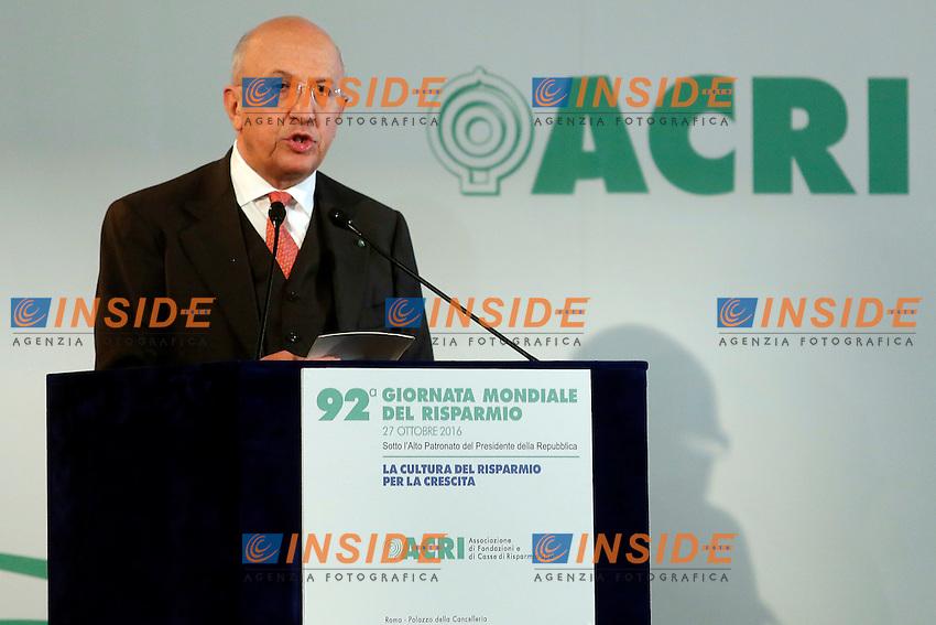 Antonio Patuelli<br /> Roma 27-10-2016. ACRI. Giornata del risparmio<br /> Foto Samantha Zucchi Insidefoto