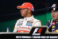 23.06.2012. Valencia, Spain. FIA Formula One World Championship 2012 Grand Prix of Europe Qualifying Session. Lewis Hamilton (England driver of McLaren).