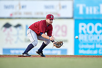 Mahoning Valley Scrappers second baseman Dillon Persinger (50) fields a ground ball during a game against the Batavia Muckdogs on August 18, 2017 at Dwyer Stadium in Batavia, New York.  Mahoning Valley defeated Batavia 8-2.  (Mike Janes/Four Seam Images)