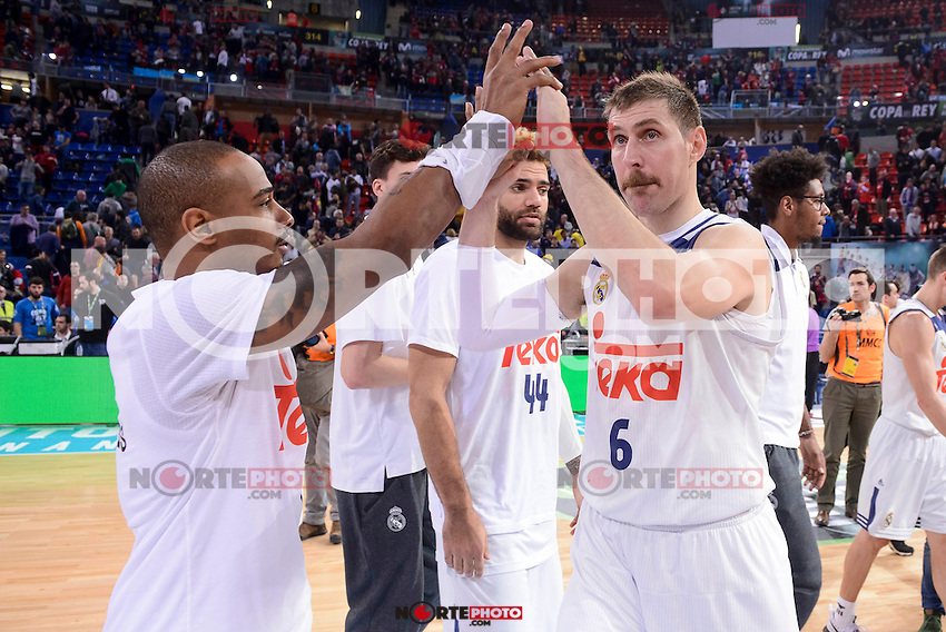 Real Madrid's Dontaye Draper, Andres Nocioni and Jeffery Taylor during Quarter Finals match of 2017 King's Cup at Fernando Buesa Arena in Vitoria, Spain. February 16, 2017. (ALTERPHOTOS/BorjaB.Hojas) /Nortephoto.com