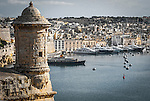 A medieval turret overlooks the port of Valletta, Malta