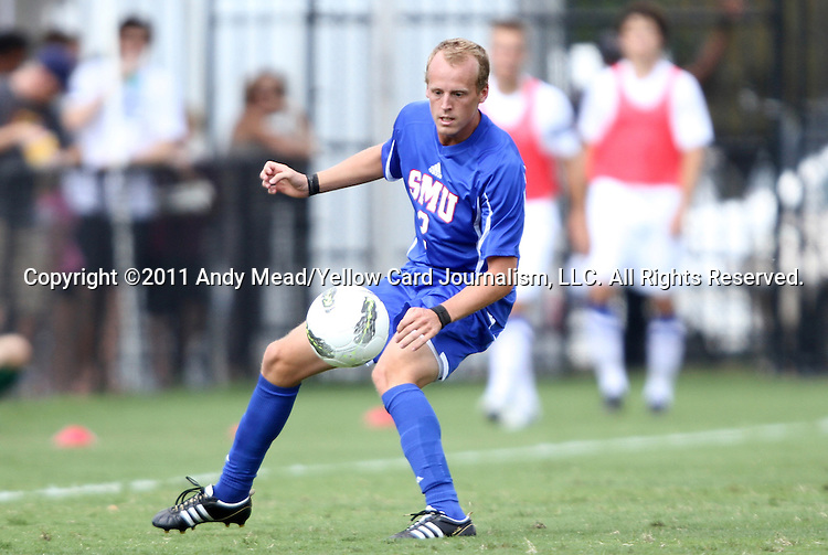 04 September 2011: SMU's Payton Hickey. The Southern Methodist University Mustangs defeated the Duke University Blue Devils 1-0 in overtime at Koskinen Stadium in Durham, North Carolina in an NCAA Division I Men's Soccer game.