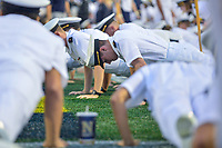 Annapolis, MD - September 8, 2018: Navy Midshipmen Cadets do push up's in the end zone following a Navy touchdown during game between Memphis and Navy at  Navy-Marine Corps Memorial Stadium in Annapolis, MD. (Photo by Phillip Peters/Media Images International)