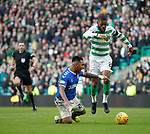 29.12.2019 Celtic v Rangers: Alfredo Morelos challenged by Olivier Ntcham and goes down in the box and is red carded