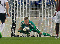 Leverkusen's Bernd Leno  during the Champions League Group E soccer match between As Roma and  Bayer Leverkusen at the Olympic Stadium in Rome, November 04 2015