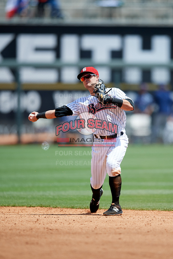 Birmingham Barons second baseman Eddy Alvarez (2) throws to first base during a game against the Jacksonville Jumbo Shrimp on April 24, 2017 at Regions Field in Birmingham, Alabama.  Jacksonville defeated Birmingham 4-1.  (Mike Janes/Four Seam Images)