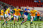 Kerry's Brendan O'Sullivan in action against Leitrim's Adrian Flynn and Shane Quinn. All Ireland Junior Championship Semi-Final, Kerry V Leitrim. 22/07/2017. Gaelic Grounds, Limerick, Co Limerick. Credit: Conor Wyse