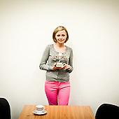 """WARSAW, POLAND, MAY 2011:.Kinga Swistak, a call centre Consultant of the year 2010 is showing the """"golden phone"""" statue that she received as an award..(Photo by Piotr Malecki / Napo Images)..WARSZAWA, MAJ 2011:.Kinga Swistak, telemarketer roku 2010 pokazuje nagrode zloty telefon, ktora otrzymala..Fot: Piotr Malecki / Napo Images.***Zdjecie moze byc wykorzystane w prasie, jesli sposob jego uzycia i podpis nie obrazaja osob znajdujacych sie na nim***"""